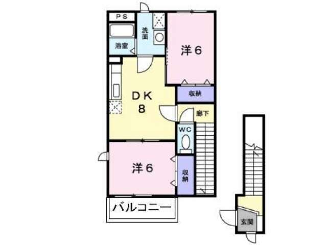 アパート 青森県 弘前市 堅田3丁目1-1 パレスマルエイ B棟 2DK