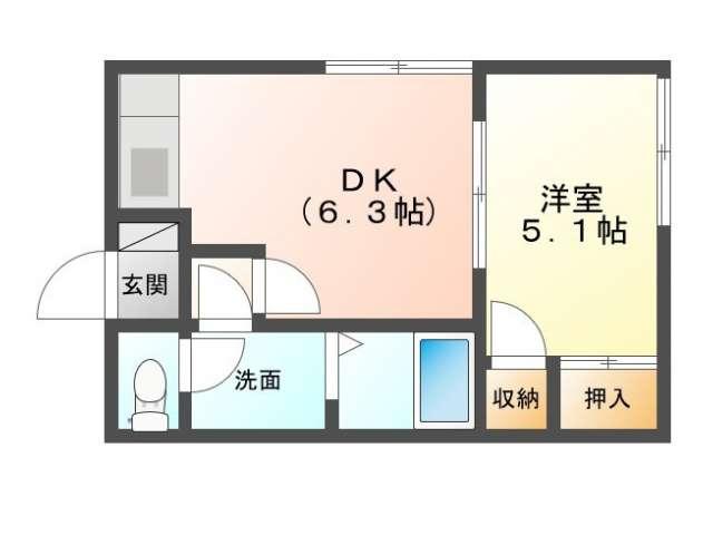 アパート 青森県 青森市 桂木1- テラスココパームス 1DK