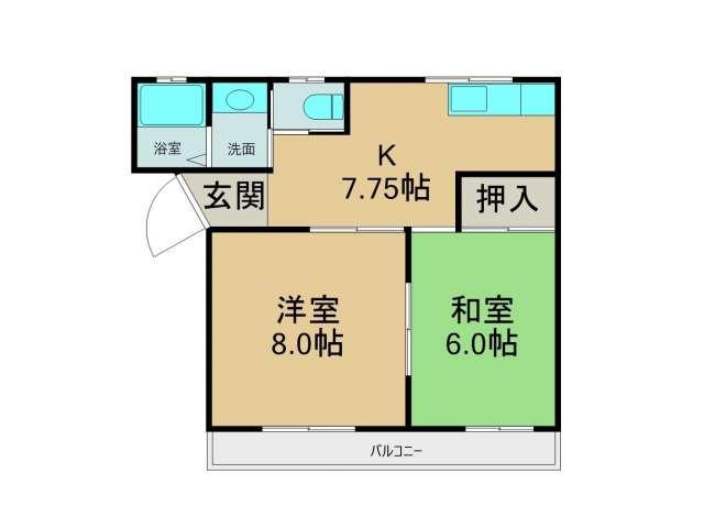 アパート 青森県 八戸市 湊高台5丁目22-22 メゾンノーブルⅠ 2DK