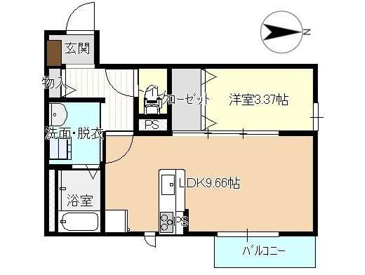 アパート 岩手県 盛岡市 中太田新田 コメット 1SLDK