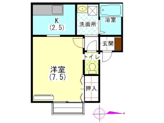 アパート 秋田県 秋田市 外旭川八幡田一丁目 キャバンハウス 1K