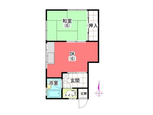 アパート 秋田県 秋田市 広面字野添125-1 コーポまるわ 1DK