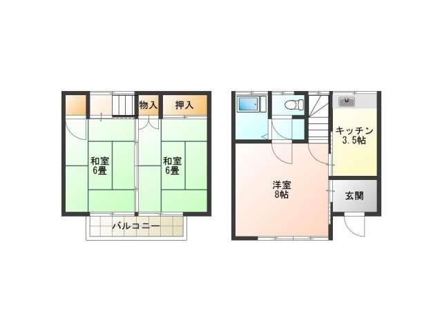 テラスハウス 秋田県 秋田市 桜 コーポさくら 3K